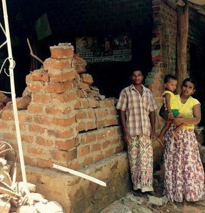 Houses destroyed by elephants in Sri Lanka
