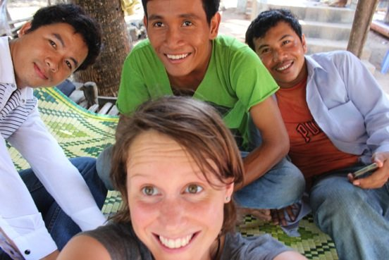 Harriet Ibbet with three research assistants