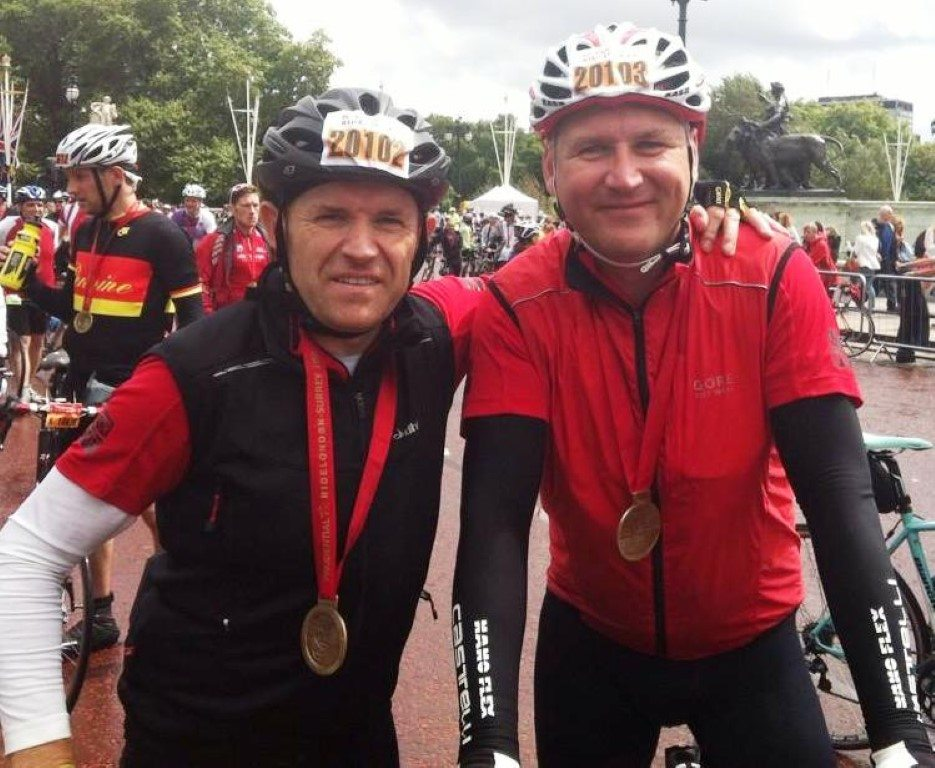 Cyclists at RideLondon-Surrey 100 2014 with medals