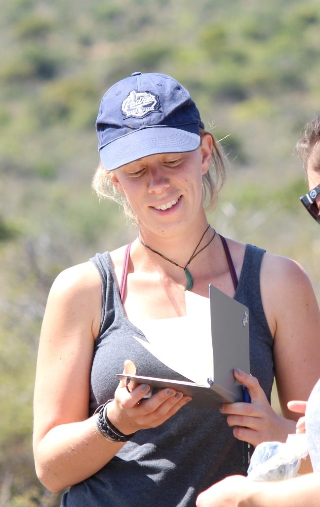 Jess Lea collecting data on Cape mountain zebra