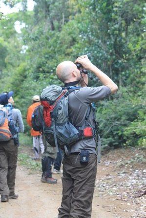 Mark Vercoe looking through binoculars in the field