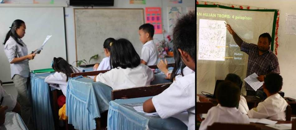 School children in classroom learning about the biodiversity in Sulawesi