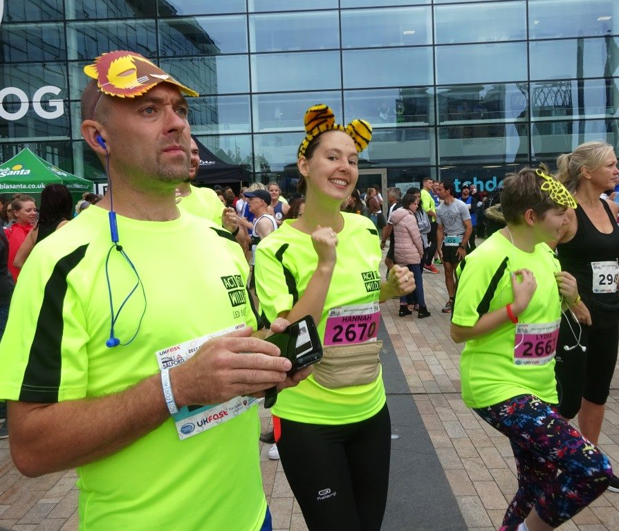 Challenge: Salford 10K warm up - Steve, Hannah & Lydia