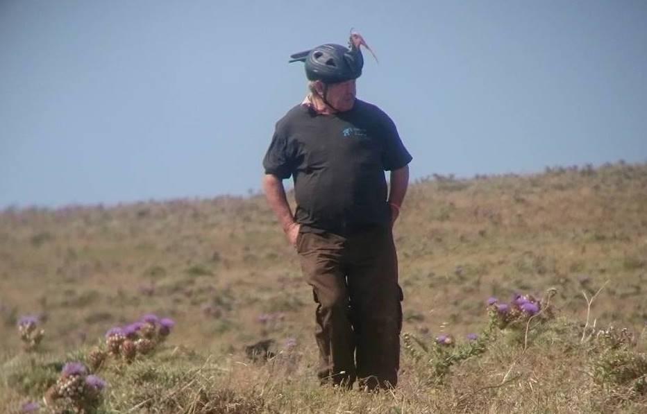 Salvador in his ibis costume observing the wild birds