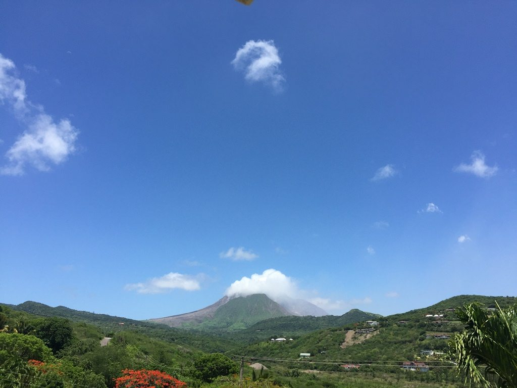 View of the volcano on island of Montserrat