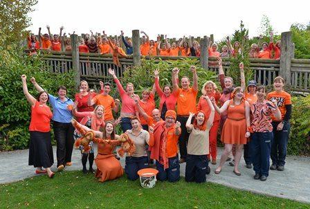 Chester Zoo staff Go Orange for Orangutans (2014)