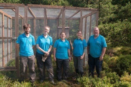The Chester Zoo team outside the finished pen. Photo credit: Henry Schofield