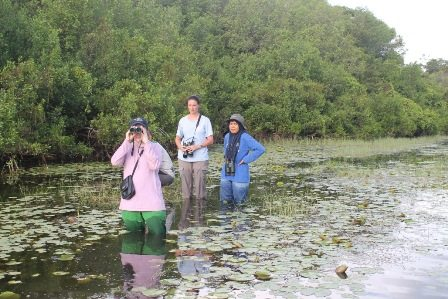 Johanna and members of the CCBC team searching for suitable release sites